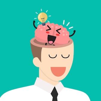 Ótima ideia do cérebro na cabeça do empresário. conceito de ideia de negócio