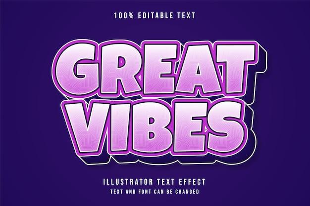 Ótimas vibrações, efeito de texto editável em 3d gradação rosa e roxo estilo de texto em quadrinhos