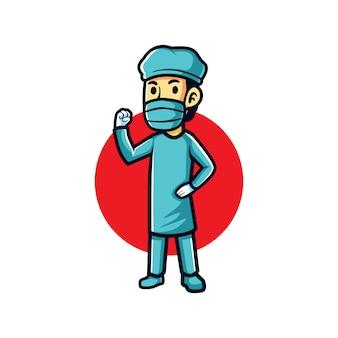 Otimista médico dos desenhos animados