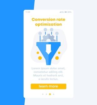 Otimização da taxa de conversão, design do banner do funil de vendas