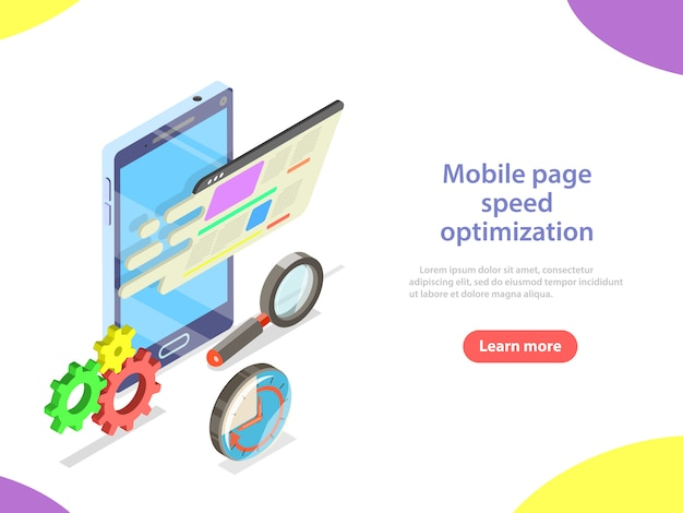 Otimização da velocidade da página para celular isométrica.