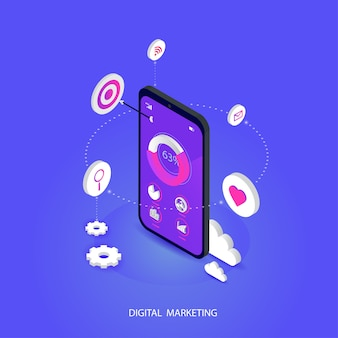 Otimização de conceito móvel isométrica seo. e mídia digital marketing conceito vector plana