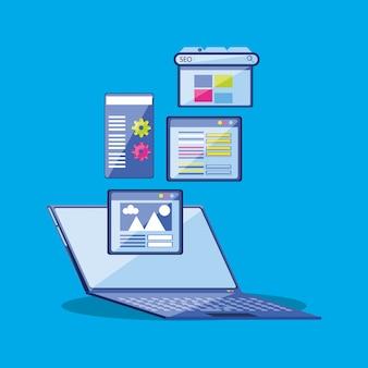 Otimização de mecanismo de busca com laptop