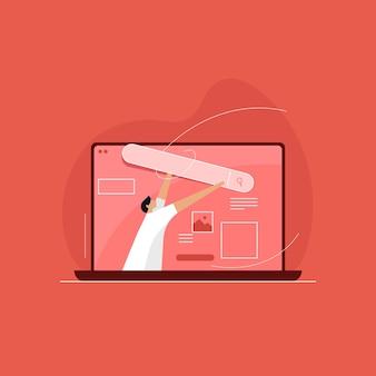 Otimização de mecanismo de pesquisa, barra de pesquisa, criação de website Vetor Premium