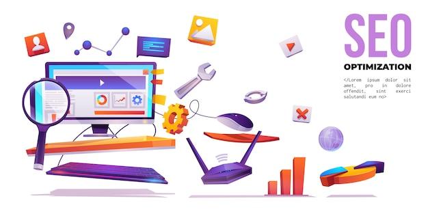 Otimização de seo, banner de marketing na internet na internet