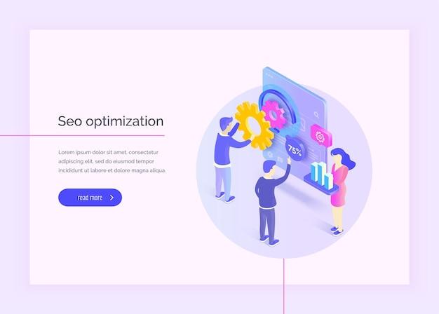 Otimização de seo um grupo de pessoas interage com a interface móvel análise de seo otimizando seo ilustração vetorial moderna estilo isométrico