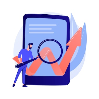 Otimização de software móvel. desenvolvimento de negócios, startup, processo de lançamento. ilustração de conceito de elemento de design plano isolado de smartphone