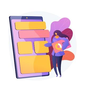 Otimização de software móvel, ui, desenvolvimento ux. projeto de interface de aplicativo para smartphone. devops, mulher criando um aplicativo para um gadget moderno.