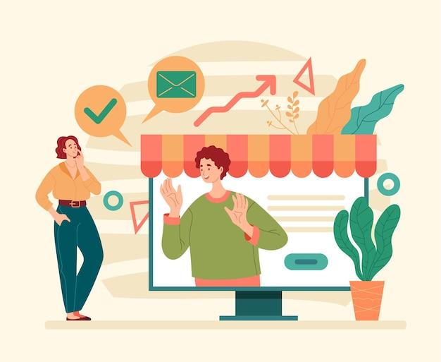 Otimização do desenvolvimento de negócios na internet, comércio on-line da loja da web plano