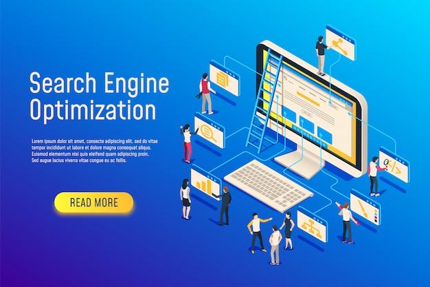 Otimização seo isométrica. otimização do computador da equipe do site. 3d site seo otimizar