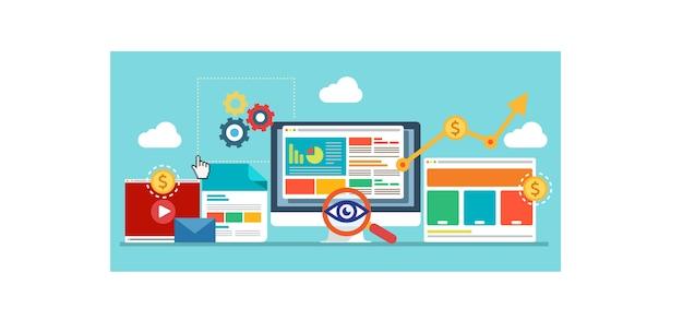 Otimização seo web design e conceito de seo