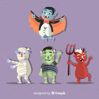 Ótimo conjunto de personagens de halloween com design plano