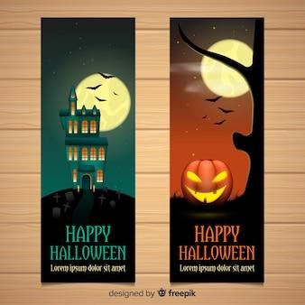 Ótimos banners de halloween com design realista