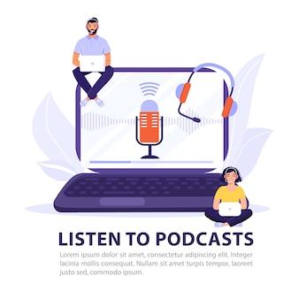 Ouça o design de conceito de podcast.