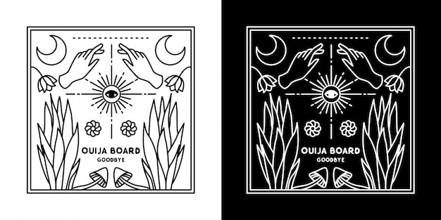 Ouija board mão e planta monoline design