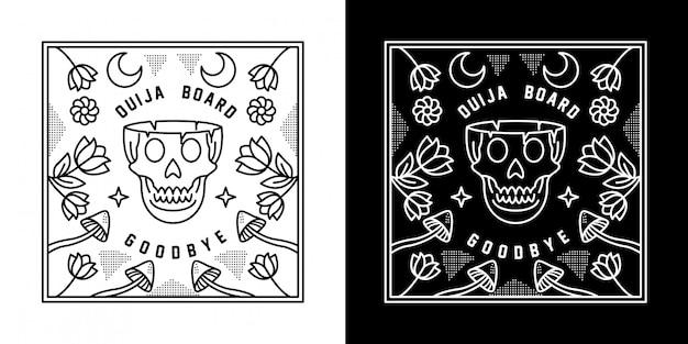 Ouija com projeto de monoline da placa do crânio