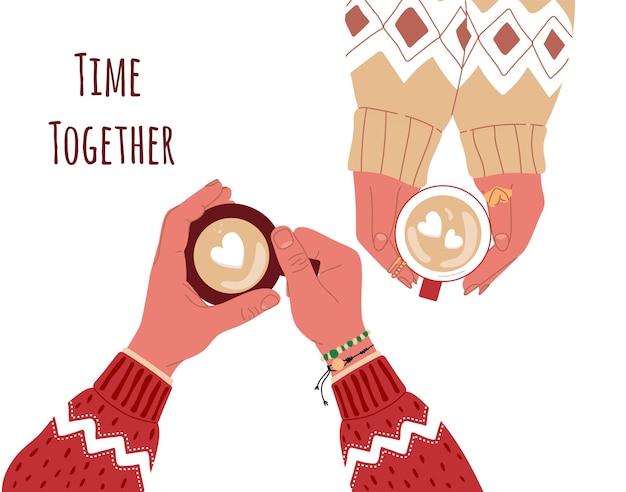 Ouple apaixonado segurando canecas de café com marshmallows em forma de coração em casatop view vecto