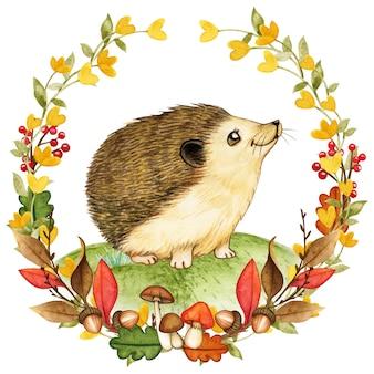 Ouriço aquarela elegante em uma coroa de flores da floresta de outono