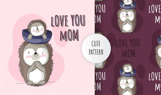 Ouriço bebê animal fofo plano com conjunto padrão de mãe