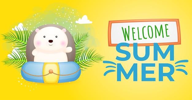 Ouriço bebê fofo com banner de saudação de verão