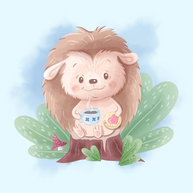 Ouriço bonito dos desenhos animados bebe chá com biscoitos. ilustração em aquarela