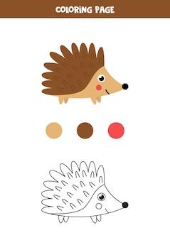 Ouriço bonito dos desenhos animados da cor. planilha para crianças.