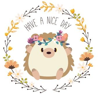 Ouriço bonito usar coroa de flores, sentado em um anel de flores