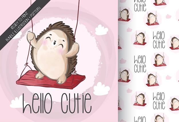 Ouriço-cacheiro animal fofo no padrão sem emenda de balanço. animal bonito dos desenhos animados.