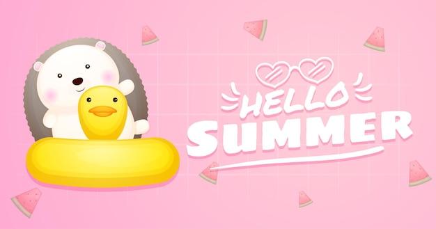 Ouriço-cacheiro fofo na bóia de natação com faixa de saudação de verão