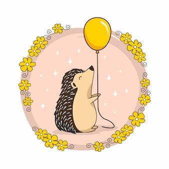 Ouriço com animais dos desenhos animados de balão