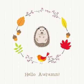 Ouriço com cartão de moldura de outono