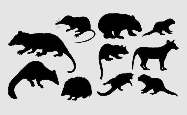 Ouriço, doninha, rato, silhueta animal de rato mamífero
