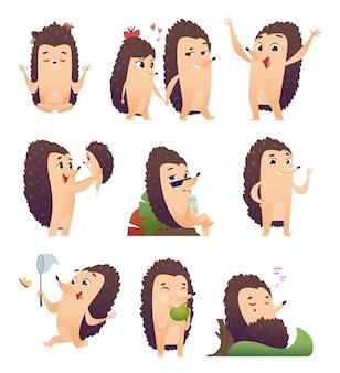 Ouriço dos desenhos animados. personagem de animal selvagem em poses de ação
