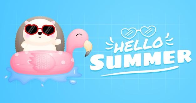 Ouriço fofo com banner de saudação de verão