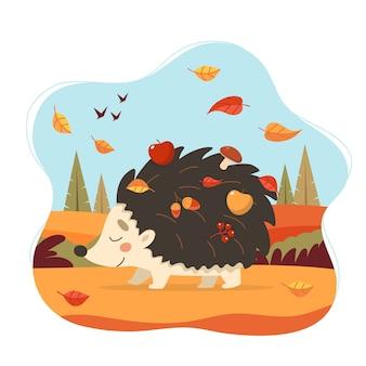 Ouriço fofo com floresta de outono.