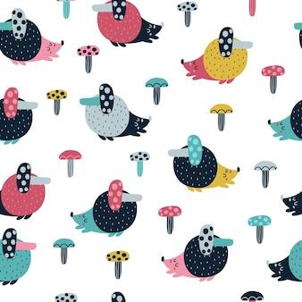 Ouriço fofo com ilustração de padrão sem emenda de cogumelo