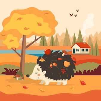 Ouriço fofo com outono com árvore e uma casa.