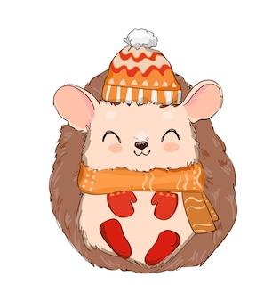 Ouriço fofo desenhado à mão com um chapéu e luvas isoladas