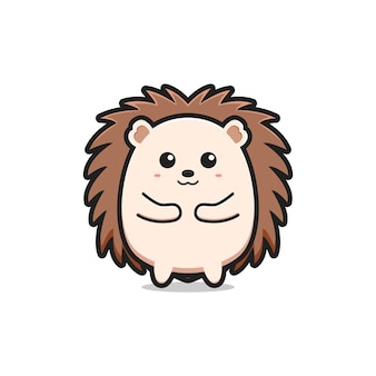 Ouriço fofo mascote personagem logotipo desenho animado ícone ilustração plana desenho estilo design