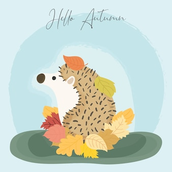 Ouriço fofo no outono. olá outono cartão fofo. vetor.