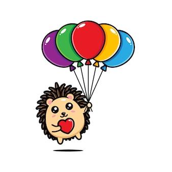 Ouriço fofo segurando balões