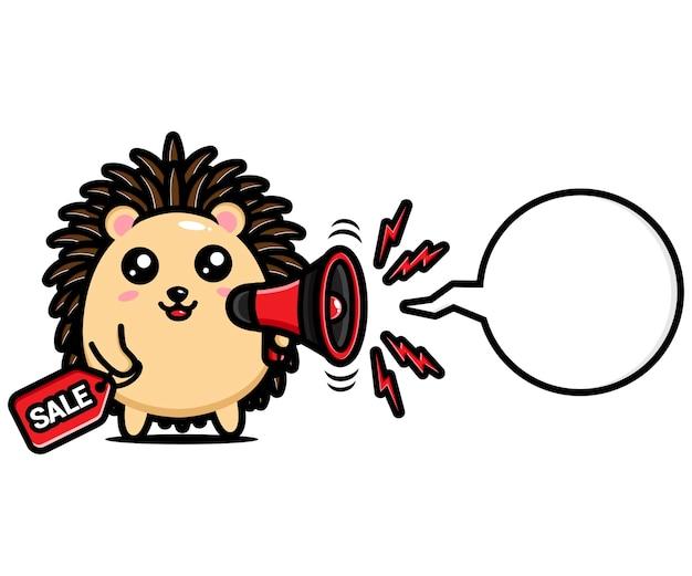 Ouriço fofo segurando um megafone