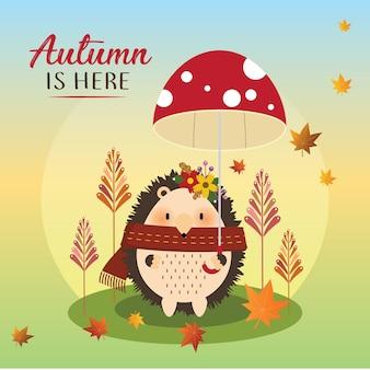 Ouriço pequeno bonito segurando um guarda-chuva de cogumelo