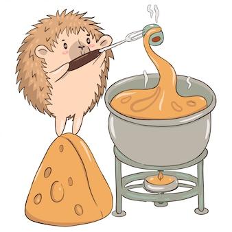 Ouriço prepara isolado de fondue de queijo em um fundo branco.