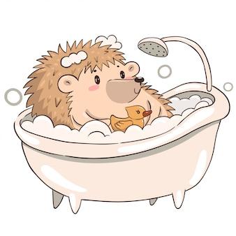 Ouriço toma um banho isolado em um fundo branco. porco-espinho kawaii fofo.