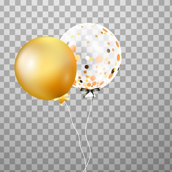 Ouro, balão de hélio transparente branco isolado no ar. balões de festa fosco para design de eventos. decorações de festa para aniversário, aniversário, comemoração. brilhar balão transparente.