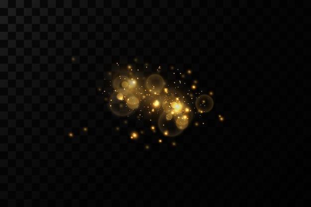 Ouro bokeh de fundo, partículas de luz de ouro, decorações de fundo.