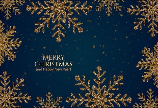 Ouro bonito brilha cartão de flocos de neve