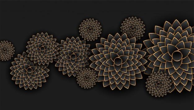 Ouro bonito e fundo preto da decoração das flores