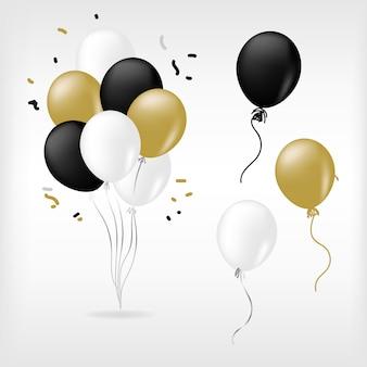 Ouro branco preto e balão dourado brilhante